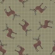 Lewis & Irene - Celtic Coorie - 6783 - Stags on Olive Green - A417.2 - Cotton Fabric